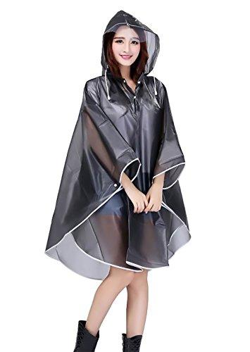 Femme Raincoat Capuche Manches Chauve Souris Translucide Fashion Outdoor Moto Biker Tourisme Mi Longues Impermable Rainwear Poncho Cape Manteau De Pluie Vtements Noir