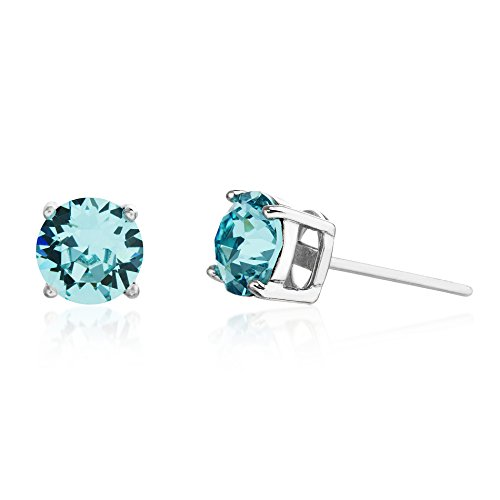 Devin Rose 6mm Round Solitaire Stud Earrings for Women Made with Swarovski Crystal in Rhodium Plated 925 Sterling Silver (Crystal Aquamarine Imitation March Birthstone)