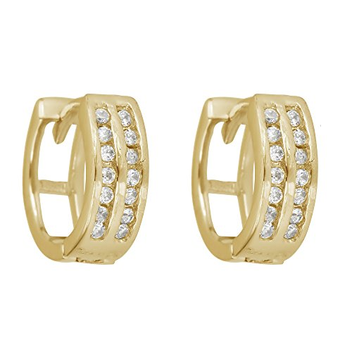 (Sterling Silver Cubic Zirconia 2 Row Channel Set Huggies)