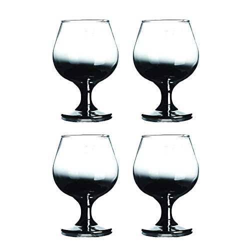 """HOMQUEN Crystal Brandy Glass 12-Ounce, 5.3"""",Craft Spirits Cognac Glasses,Whiskey Glass,Suitable for Spirits, Whiskey, Beer, Wine, Champagne,Set of 4 (Clear with Black Gradient)"""