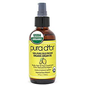 PURA D'OR Organic Moroccan Argan Oil (4oz / 118mL) USDA Certified 100% Pure Cold Pressed Virgin Premium Grade Moisturizer Treatment for Dry & Damaged Skin, Hair, Face, Body, Scalp & Nails