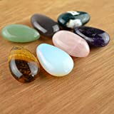 FHNP367 Set of 7 Palm Stone Teardrop Gemstones