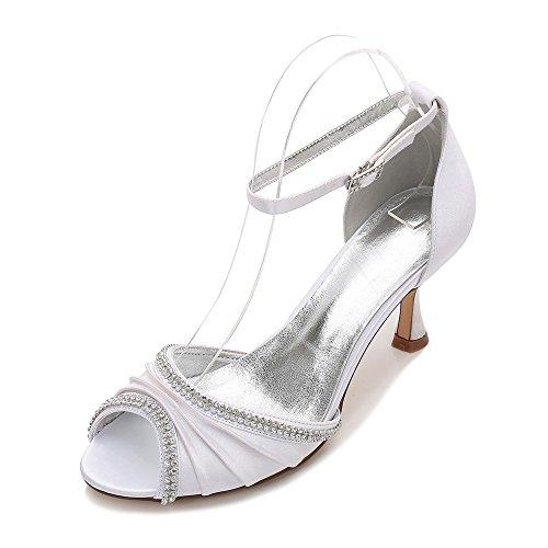 Bianco Grande Fascia 36 Festa Matrimonio Duoai di Cristallo Scarpe Nozze Pesce Vestono Moda Scarpe High Scarpe Stivali Alta Banchetto Scarpe di Heeled Scarpe Bocca Agg6Bdqz