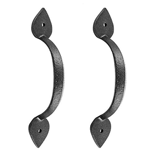 (Black Wrought Iron Pull for Drawer Or Door Heart 6.785in H Set of 2)