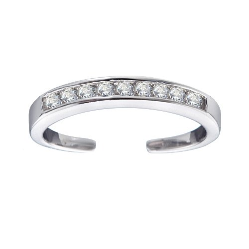 .925 Sterling Silver Channel-Set Sparkling CZ Toe Ring