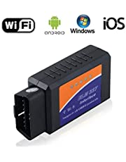 ELM327 WiFi OBD2 OBDII Scanner Adapter Car Auto Diagnostic Scan Tool Code Reader for iPhone iOS Android Windows Check Engine Light Clear Reset Wireless OBD 2 Adapter
