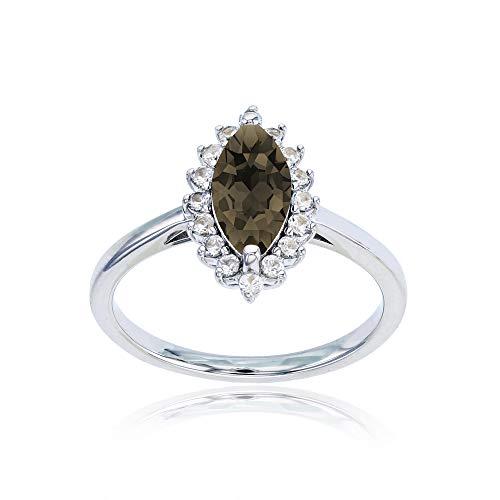 Sterling Silver Rhodium 10x5 Marquise Smokey Quartz & Round Created White Sapphire Ring