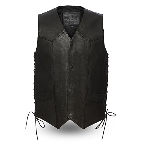 First MFG Co. - Deadwood - Men's Leather Western Vest (Black, Large)