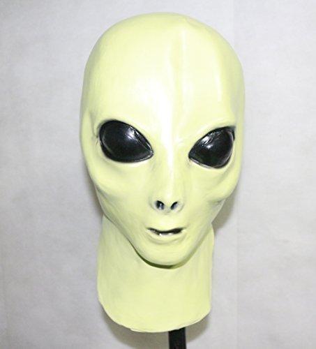 The Rubber Plantation TM 619219291521 Glow in the Dark Alien Full Head - Mascara de latex para disfraz de Halloween Ufo Marciano, unisex adulto, talla u