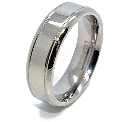 Unique 7mm Double Grooved Polished Flat Titanium Wedding Ring Size 9 (Flat Grooved Wedding Ring)