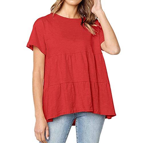(Womens Sexy Tops 2019, YEZIJIN Women Solid Flounce O-Neckline Design Short Sleeve Shirt Blouse Tops)
