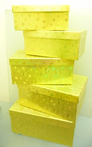 Set of 5 Gold Holographic Heavy Duty Gift Boxes Largest 21 x 13 x 9.5cm - Heavy Gift Boxes Duty