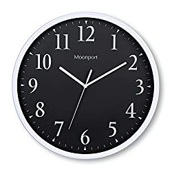 Wall Clocks Battery Operated Silent Non-ticking 12 inch Round Large Decorative In The Wall,Easy to Ready For Kids Bedroom,Kids Zoo,Home,Office,School(Black)