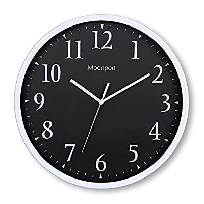 Moonport Wall Clocks Battery Operated,Silent Non-Ticking 12 inch Round Analog Wall Clock and Large Decorative On The Wall,Easy to Ready for Kids Bedroom,Kids Zoo,Home,Office,School(Black) - ✅ LARGER NUMBER: 12 inch Larger number analog wall clock easy to viewing.Precise quartz movements to guarantee accurate time. ✅ SUPER QUIET: Silent non-ticking mechanism with sweeping movement.Enjoy a quiet environment! ✅ EASY TO INSTALL: Rugged plastic frame and glass layer are extremely durable,make it easy to clean and resistant to dust.Nail slot ensures easy installation. - wall-clocks, living-room-decor, living-room - 41u2XfaDgvL. SS400  -