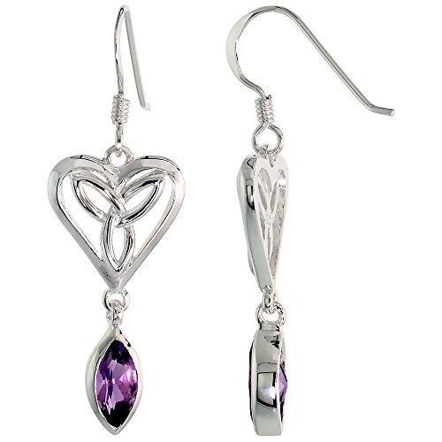 Sterling Silver Triquetra Earrings Celtic Heart Gemstone Dangling Fishhook Flawless Finish 1 1 2 inch