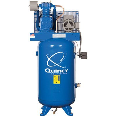 - Quincy QT-5 Splash Lubricated Reciprocating Air Compressor - 5 HP, 230 Volt, 1 Phase, 80-Gallon Vertical, Model# 251CP80VCB