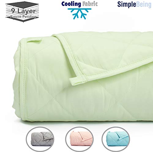 Cheap Simple Being Weighted Blanket 3.0 48x72 15lb Patent Pending 9 Layers Design Best Heavy Calming Blanket Cooling Cotton Glass Beads High Degrees of Breathability Seafoam Green Black Friday & Cyber Monday 2019