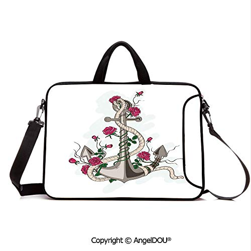 AngelDOU Neoprene Laptop Shoulder Bag Case Sleeve with Handle and Extra Pocket Romantic Hand Drawn Style Marine Icon Entwined with Rose Flowers and Rope Decora Compatible with MacBook/Ultrabook/HP/A