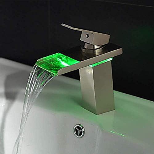 Gulakey ハイエンド近代的なバスルームのシンクの蛇口 - 滝/ LEDステンレス鋼真鍮シングルハンドル1つのタップ/真鍮プリティ