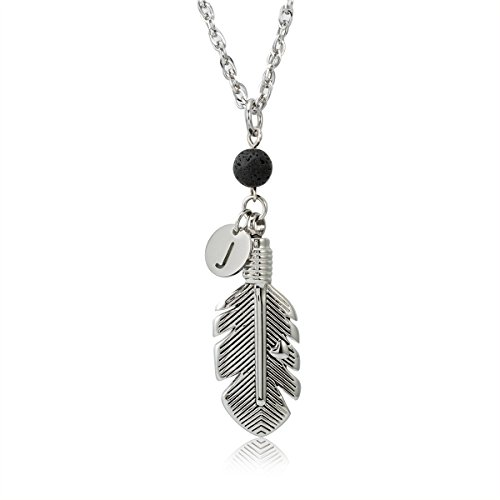 Vintage Feather Memorial Urn Pendant Cremation Ash Jewelry Keepsake Alphabet J Initial Necklace with Lava Stone (Stone Keepsake)