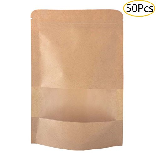 SumDirect Kraft Zip Lock Stand Up Food Bags Resealable Pouches with Notch and Matte Window ,4x6 Inches,1.15oz,Pack of 50