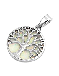 Glitzs Jewels 925 Sterling Silver Created Opal Pendant for Necklace in Gift Box (White) (Tree of Life)