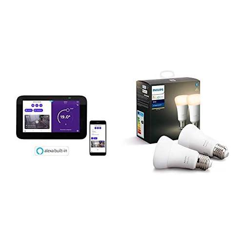 chollos oferta descuentos barato Homix Smart Home Hub y Termostato inteligente con Alexa integrada para hogar conectado y domótica Pack de 2 Philips Hue White bombillas LED inteligentes E27 compatible con Bluetooth y Zigbee