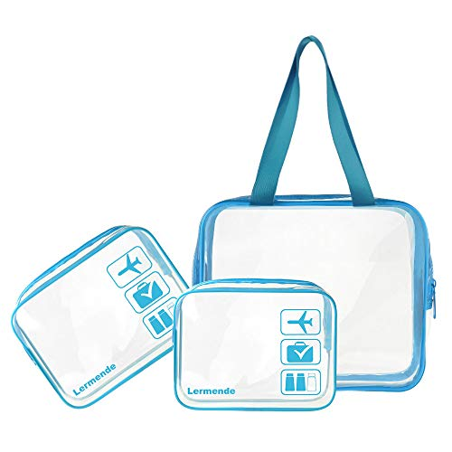 - 3pcs Lermende TSA Approved Clear Toiletry Bag Set 3-1-1 Travel Cosmetic Pouch Leakproof Luggage Makeup Tote Bags in 2 Size - Blue