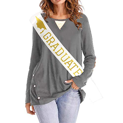 Blingbling Graduate Sash - White Satin with Gold Glitter Fonts - Commencement Ceremony, High School Graduation, College Graduate 2018 2019 Decorations Party Supplies