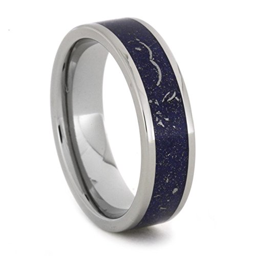 Blue Meteorite and 14k White Gold Stardust 6mm Comfort-Fit Titanium Band, Size 5.5 by The Men's Jewelry Store (Unisex Jewelry)