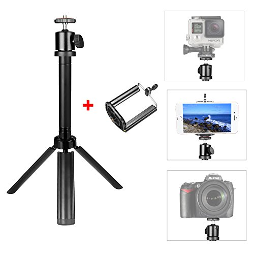 Crazefoto Portable Tabletop Tripod, Aluminum Camera Tripod Swivel Ball Head with Carry Bag & Phone Clip Compatible with Smartphone DV Video Camera DSLR Camcorder Max. Load up to 6.6 lbs