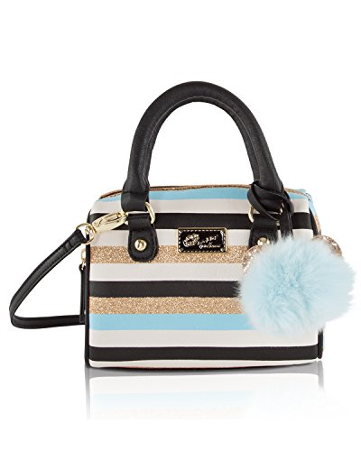 Betsey Johnson Harlie Mini Satchel Crossbody Bag - Blue Gold Stripes