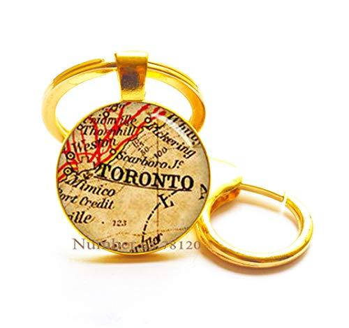 Toronto Map Key Ring Map Keychain Map Jewelry Travel Keychain Map Map of Canada Map of Toronto,BV064 (V3)