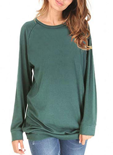 (She's Style Women's Cotton Knitted Long Sleeve Loose Casual Pullover Tunic Sweatshirt Tops Color Green Size XL)