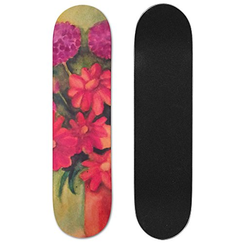 Daisies, Tulips And Geraniums Vogue Double Warped Skateboard Deluxe Longboard Skate Boards