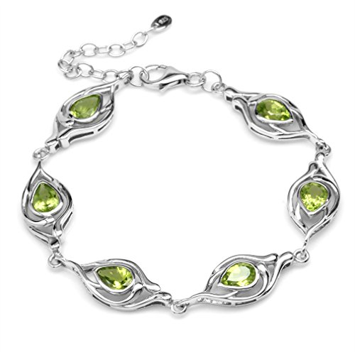 Pear Peridot Bracelet - 4.38ct. Natural Pear Peridot White Gold Plated 925 Sterling Silver 6.75-7-8.25 Inch Adj. Bracelet