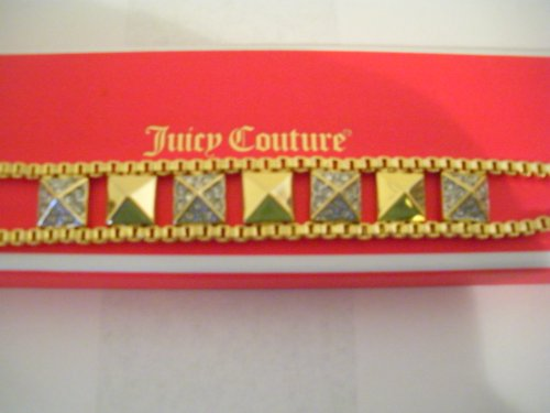 Juicy Couture Gold Tone Crystal Pave Pyramid-stud & Chain - Pave Juicy