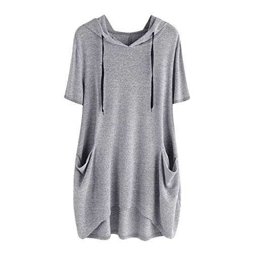 (TUSANG Women Tees Casual Solid Cat Ear Hooded Tops Short Sleeves Pocket Top Blouse Shirt Loose Fit Tunic(D-Gray,US-10/CN-XL))