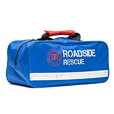 Roadside Emergency Assistance Kit - Packed 110 Premium Pieces & Rugged Bag - Car, Truck & RV Kit with Heavy Duty Jumper Cables • Heavy Duty Tow Strap • Safety Triangle • First Aid & more: Automotive