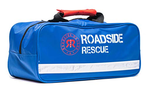 - Roadside Emergency Assistance Kit - Packed 110 Premium Pieces & Rugged Bag - Car, Truck & RV Kit with Heavy Duty Jumper Cables • Heavy Duty Tow Strap • Safety Triangle • First Aid & more