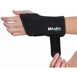 Mueller Fitted Wrist Left, Black, Small/Medium