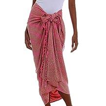 NOVICA Pink 100% Rayon Batik Sarong 'Coral Flow'