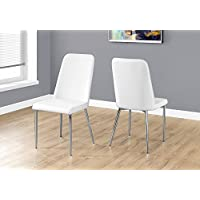 Monarch Specialties I 1033 2 Piece Dining Chair-2PCS/ 37 H Leather-Look/Chrome, White
