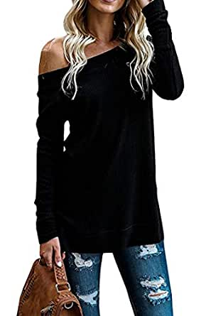 SimpleFun Womens Fall Off Shoulder Tops Casual Oversized Long Sleeve Knit Pullovers Sweaters Tunic Tops (S, Black)