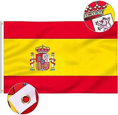 Bandera de España de 3 x 5 pies, banderas españolas duraderas bordadas con colores vivos, triple