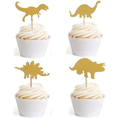 Dinosaur Cupcake Toppers Cute Cake Top for Baby Shower Kids Birthday Food Toppers Fruit Toppers for Decoration 16pcs by BILIPALA