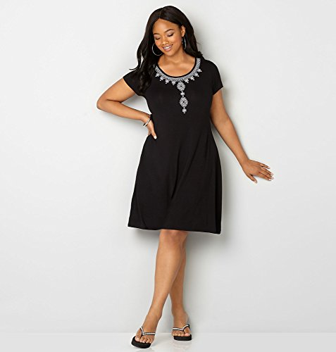 AVENUE-Womens-Embroidered-T-Shirt-Dress