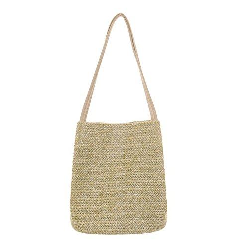 Sac à main en bambou,yunt sac fourre-tout tissé à la main Sac de plage demi-lune sac à fermeture à glissière pour les femmes, sac à bandoulière sac à bandoulière sac de voyage Straw sac à main B
