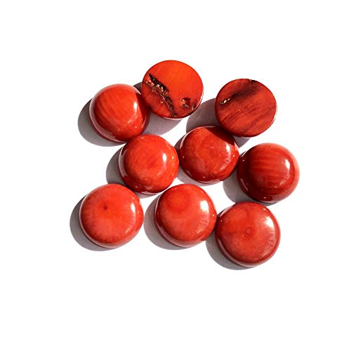 Calvas Wholesale 5pcs/lot Natural Orange Red Coral Bead Cabochon Jewelry Ring Face 12mm Round Gem Stone Beads Cabochon