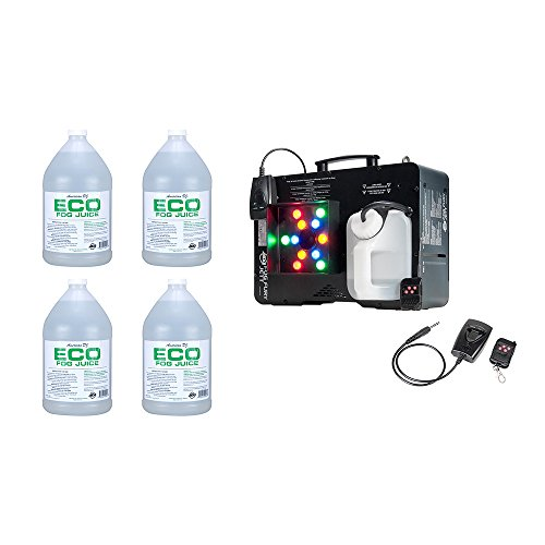 (ADJ Fog Fury Jett Smoke Machine & LED Lights + Eco-Fog Juice Fluid, 4 Gallons )